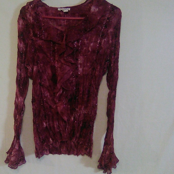 Claudia Richard Tops - Claudia Richard purple sparkle LS top. Large. #294